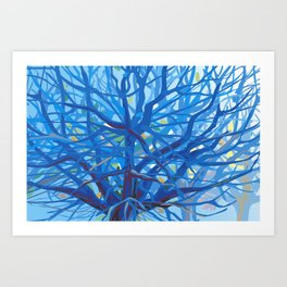 Radiant Tree in Blue Art Print