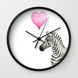 Zebra with Pink Balloon Wall Clock