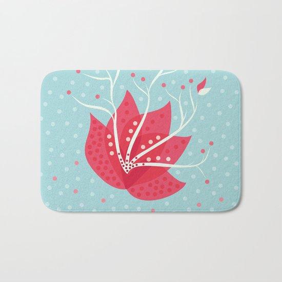 Exotic Winter Flower Bath Mat