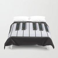 piano Duvet Covers featuring Piano by rob art | illustration