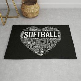 Softball Heart Love Rug
