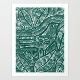 Green Cactus Bird Art Print