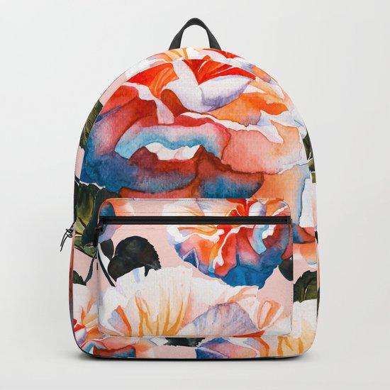 Big flowers blue & orange Backpack