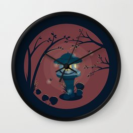 Japanese lantern with fireflies on a warm summer evening with a dark blue background. Wall Clock