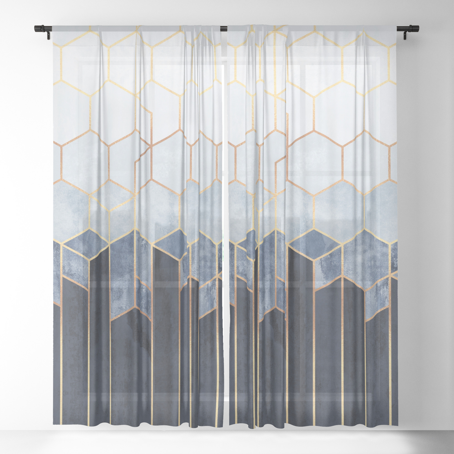 Soft Blue Hexagons Sheer Curtain By