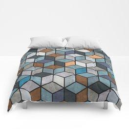 Colorful Concrete Cubes - Blue, Grey, Brown Comforters