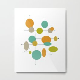 Colorful Circles Mid Century Modern  Metal Print