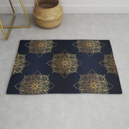 Gold and Navy Damask Rug