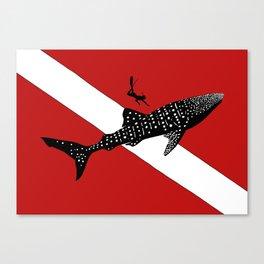 DIVER DOWN - whale shark dive Canvas Print