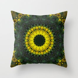 Large Yellow Wildflower Kaleidoscope Art 8 Throw Pillow