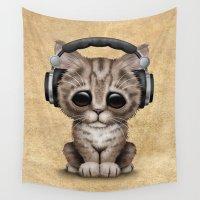 headphones Wall Tapestries featuring Cute Kitten Dj Wearing Headphones  by Jeff Bartels