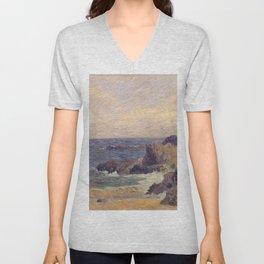 """Paul Gauguin - Seascape """"Rochers au bord de la mer"""" or """"La Côte rocheuse"""" (1886) Unisex V-Neck"""