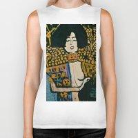 gustav klimt Biker Tanks featuring Judith - Ode to Klimt  by LadyJennD