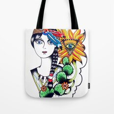 Cactus Eye Tattoo Style Tote Bag