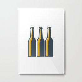 Beer Bottles Retro Metal Print