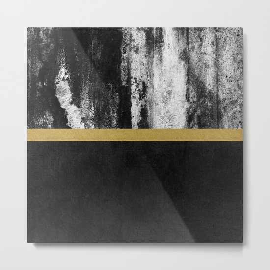 Golden Line / Black Metal Print
