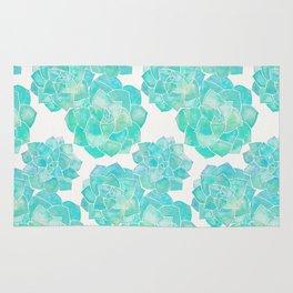 Rosette Succulents – Turquoise Palette Rug