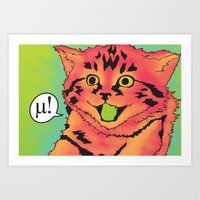 mew Art Prints featuring Mew! by Purrito Press