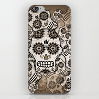 sugar skulls iPhone & iPod Skins featuring Sugar skulls by nicky2342
