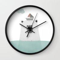 polar bear Wall Clocks featuring Polar bear by missmalagata