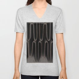 Industrial Waves | Metal Coils Abstract | Contemporary Art Unisex V-Neck