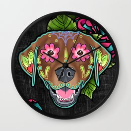 Labrador Retriever - Chocolate Lab - Day of the Dead Sugar Skull Dog Wall Clock