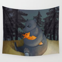 The fox and his foster mum Wall Tapestry