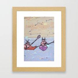 Goats can kayak too Framed Art Print
