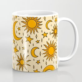 Vintage Sun and Star Print Coffee Mug