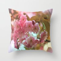 cherry blossoms Throw Pillows featuring Cherry Blossoms by Judy Palkimas