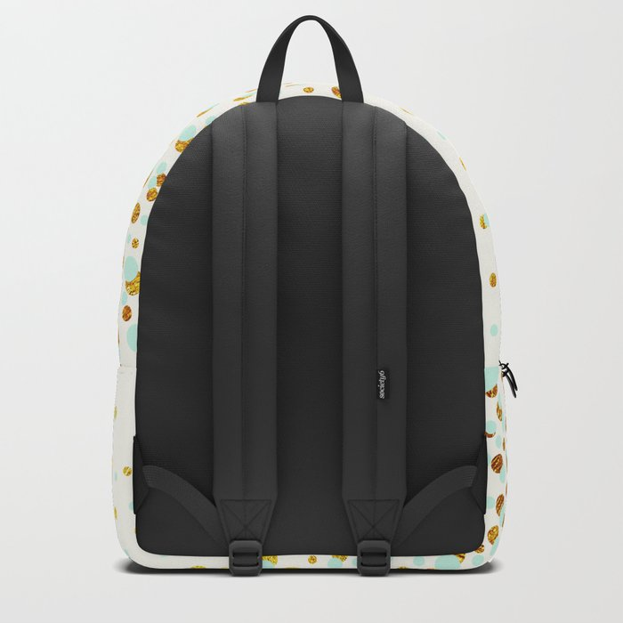 Polka dots Mint - gold Backpack