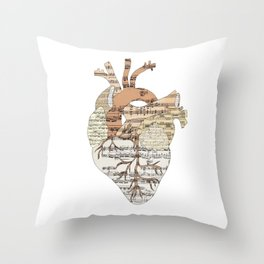 Sound Of My Heart (on white) Throw Pillow