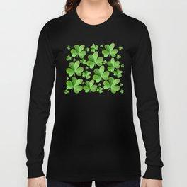 Clovers on Black Long Sleeve T-shirt