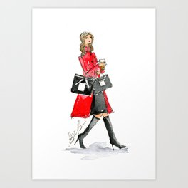 Walking Out of 5th Avenue Fashion Illustation by Elaine Biss Art Print