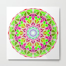 Ethnic gradient mandala on grunge Metal Print