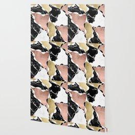 Modern white black marble rose gold foil color block handdrawn geometric lines Wallpaper
