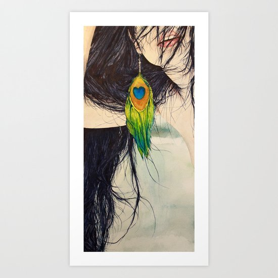 Feather Girl Art Print