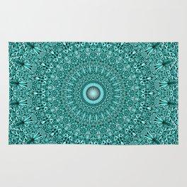 Turquoise Geometric Floral Mandala Rug