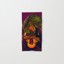 budgie hangs upside down on the branch vector art late sunset Hand & Bath Towel