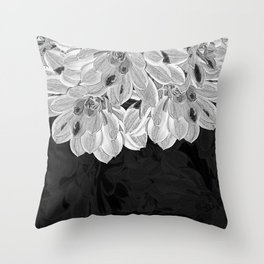 Elegant Black and White Flowers Design Throw Pillow