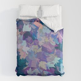 Autumn Leaves (blue, cyan, pink, orange, purple) Comforters