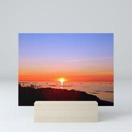 Kayak Silhouette at Sunset Mini Art Print