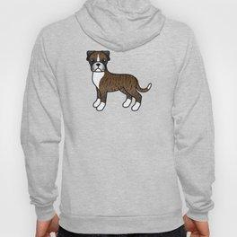 Cute Brindle Boxer Dog Cartoon Illustration Hoody