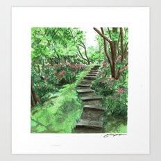 Watercolor Garden Steps Art Print