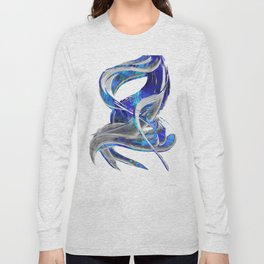 Blue White And Gray Art - Flowing 3 - Sharon Cummings Long Sleeve T-shirt