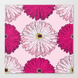 Pattern with pink and magenta blossom zinnias Canvas Print