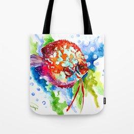 Bright Colored Aquarium Fish, Aquatic Beach Design Discus Tote Bag