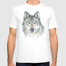 Wolf LARGE Mens Fitted Tee White