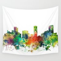 denver Wall Tapestries featuring Denver, Colorado Skyline SP by Marlene Watson