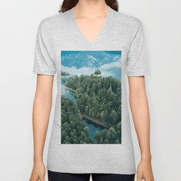 Mountain in a Lake - Landscape Photography Unisex V-Neck